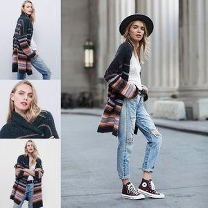 Free People Charcoal Stripe Cardigan Sweater